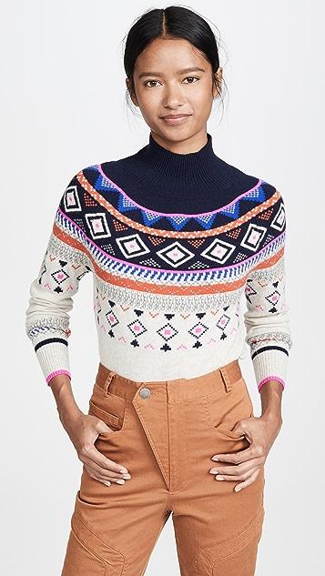 Autumn Cashmere Кашемировый свитер с воротником под горло и жаккардовым узором