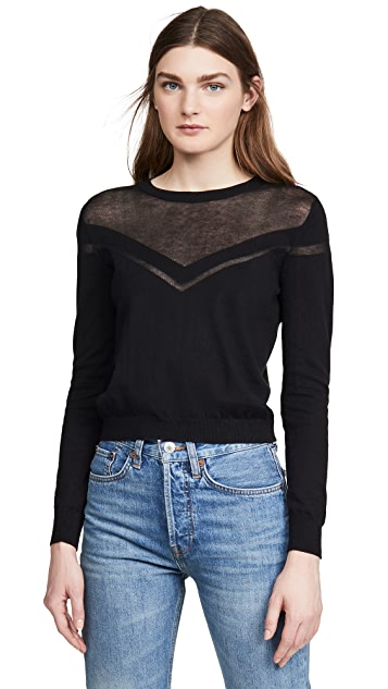 Autumn Cashmere Shadow Stripe Yoke Crew Sweater