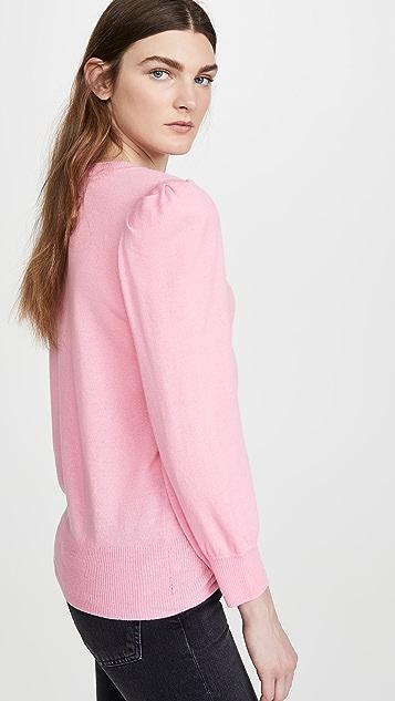 Autumn Cashmere Кашемировый пуловер с V-образным вырезом и объемными рукавами