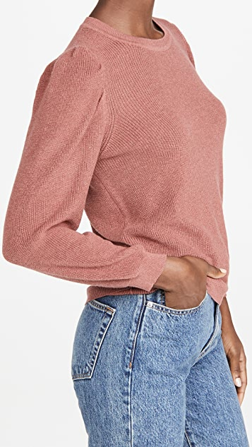 Autumn Cashmere 3/4 Puff Sleeve Shaker Crew Sweater