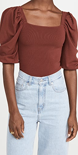 Autumn Cashmere - Square Neck Puff Sleeve Top