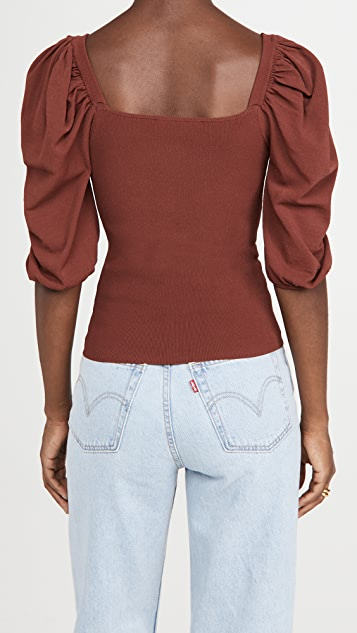 Autumn Cashmere Square Neck Puff Sleeve Top