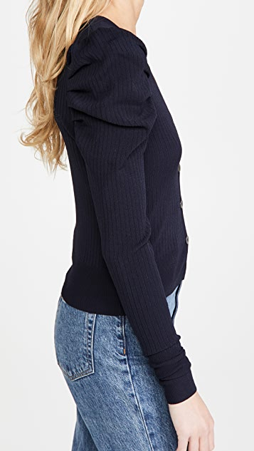Autumn Cashmere Ribbed Puff Sleeve Cardigan