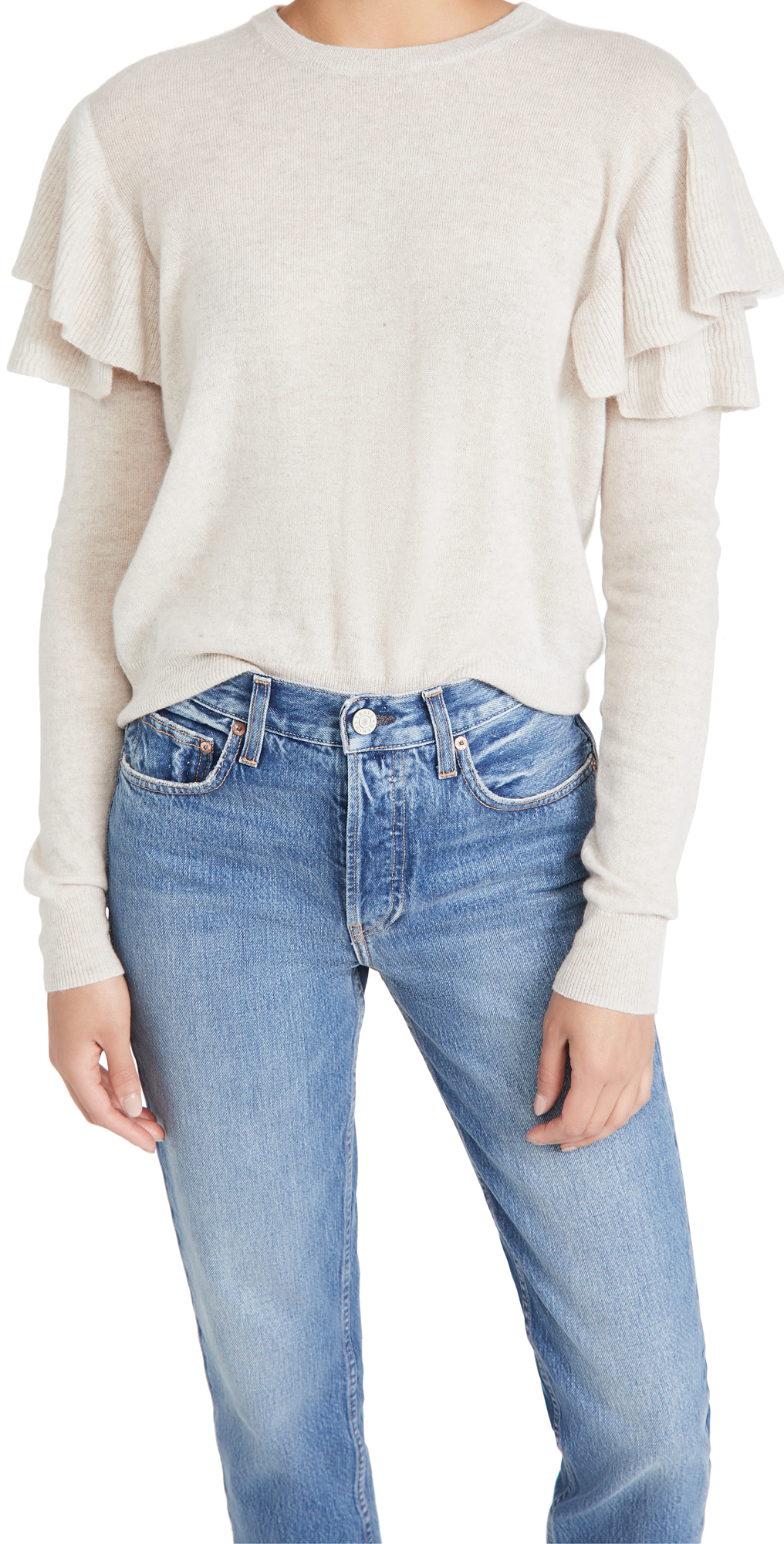 Autumn Cashmere Double Ruffle Crew Cashmere Sweater