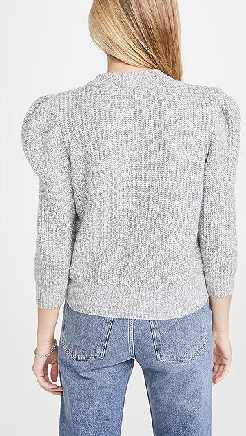 Autumn Cashmere Tweed 3/4 Puff Sleeve Crew Sweater