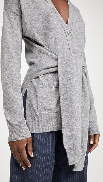 Autumn Cashmere Wrap N 绑带 V 领系扣衫