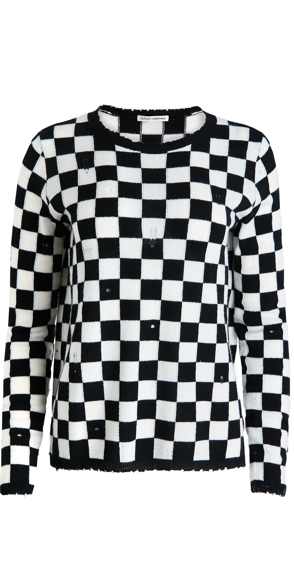 Autumn Cashmere Distressed Checkerboard Cashmere Crew Sweater