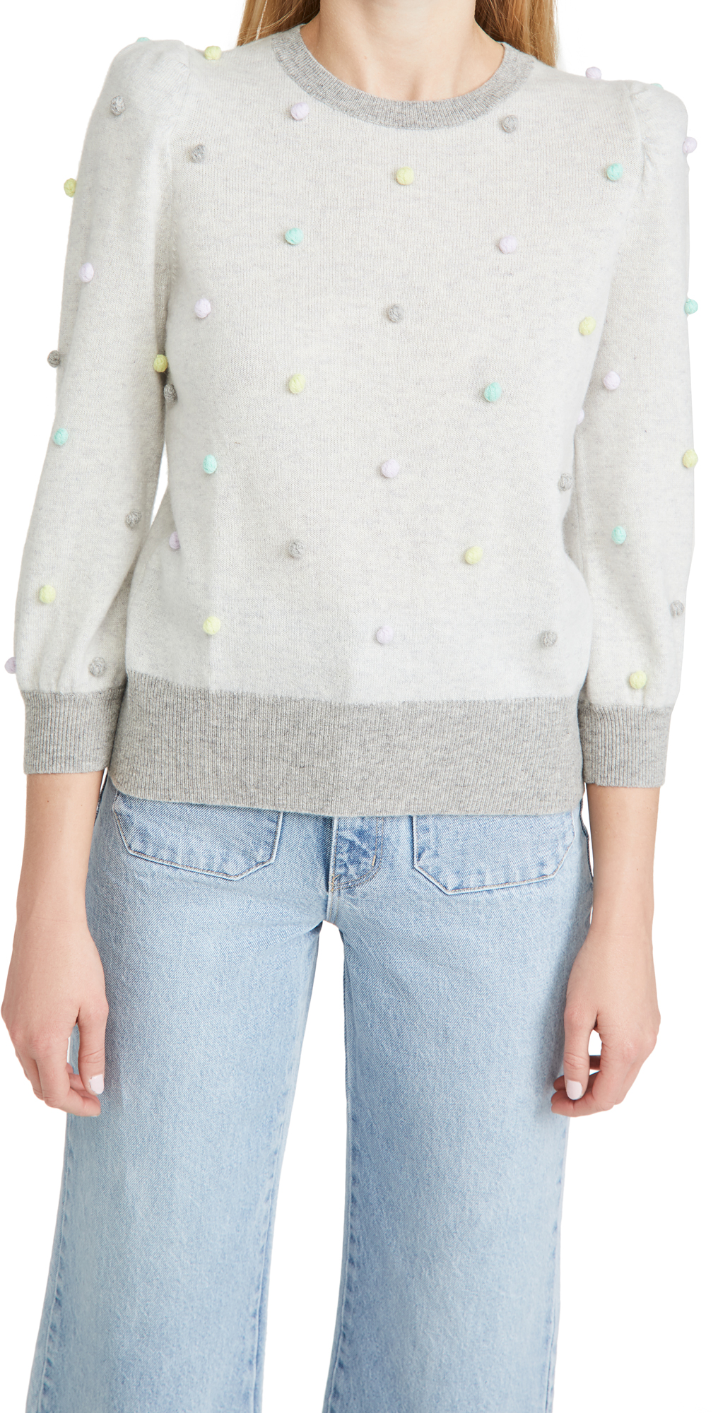 Autumn Cashmere Multi Color Popcorn Puff Sleeve Cashmere Sweater