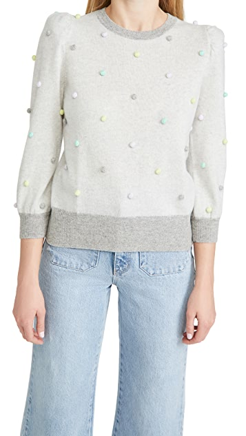 Autumn Cashmere Multi Color Popcorn Puff Sleeve Cashmere Sweater