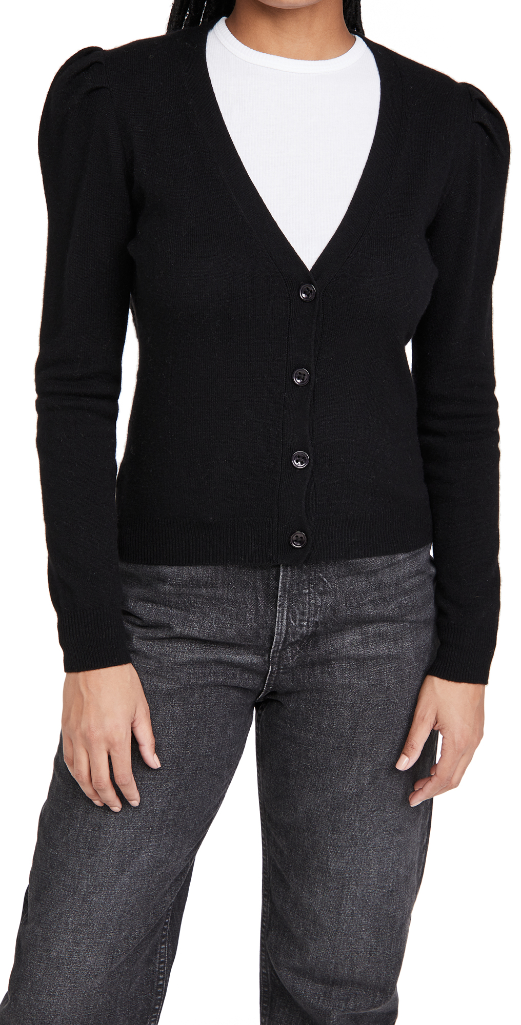 Autumn Cashmere Puff Sleeve V Neck Cashmere Cardigan