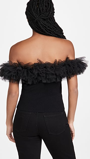 Autumn Cashmere Off Shoulder Tulle Top