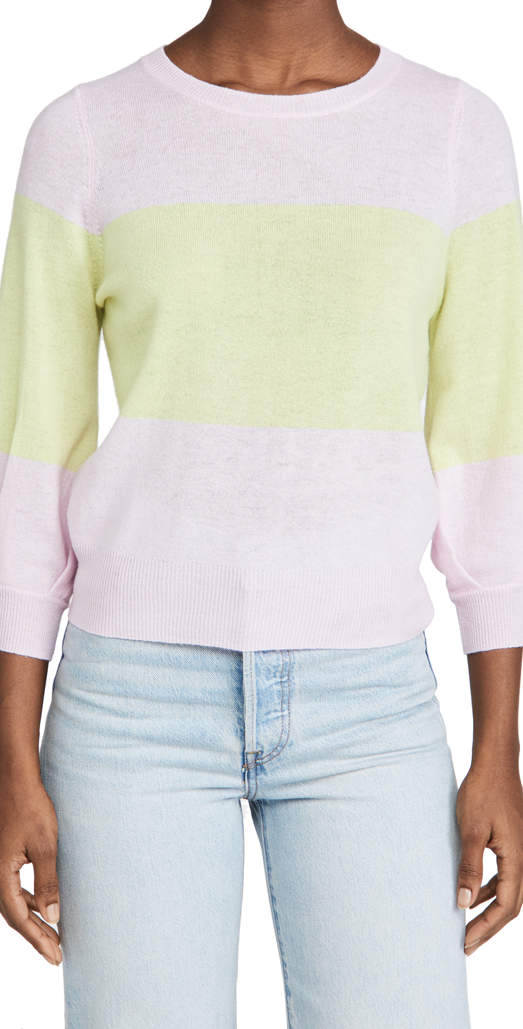 Autumn Cashmere Colorblock Puff Sleeve Cashmere Sweater