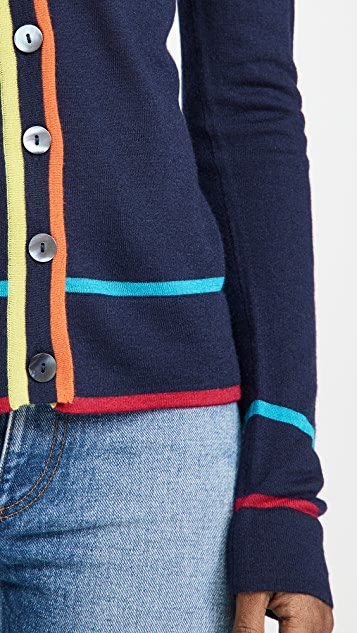 Autumn Cashmere Multi Color Banded V Neck Cashmere Cardigan
