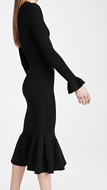 Autumn Cashmere Ribbed Ruffle Button Front Maxi Dress