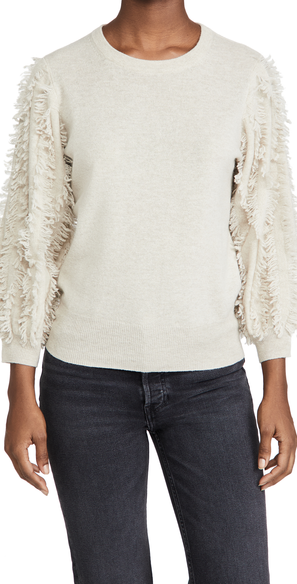 Autumn Cashmere Frayed Puffed Sleeve Cashmere Sweater