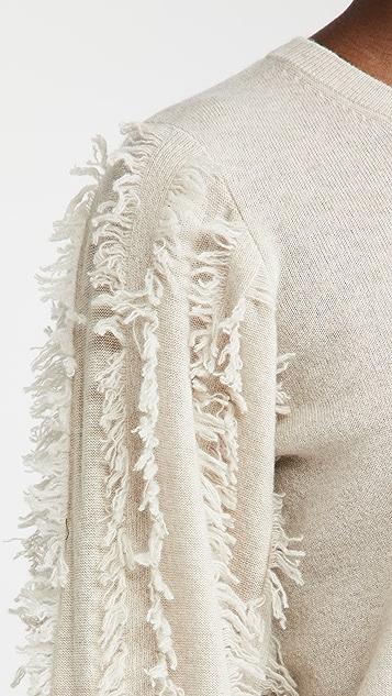 Autumn Cashmere 磨边泡泡袖开司米羊绒毛衣