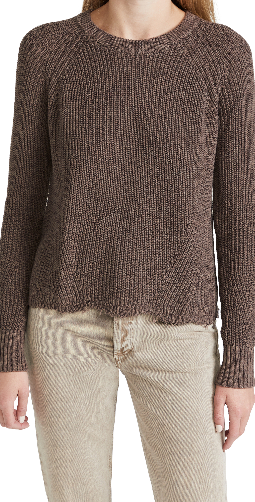 Distressed Scallop Shaker Sweater