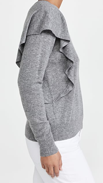 Autumn Cashmere 双层荷叶边开司米羊绒圆领毛衣