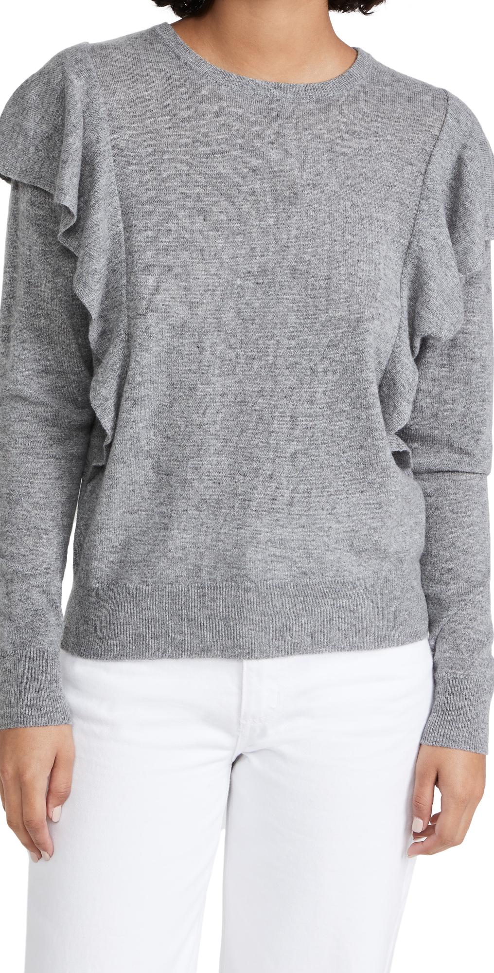 Double Ruffle Cashmere Crew Sweater