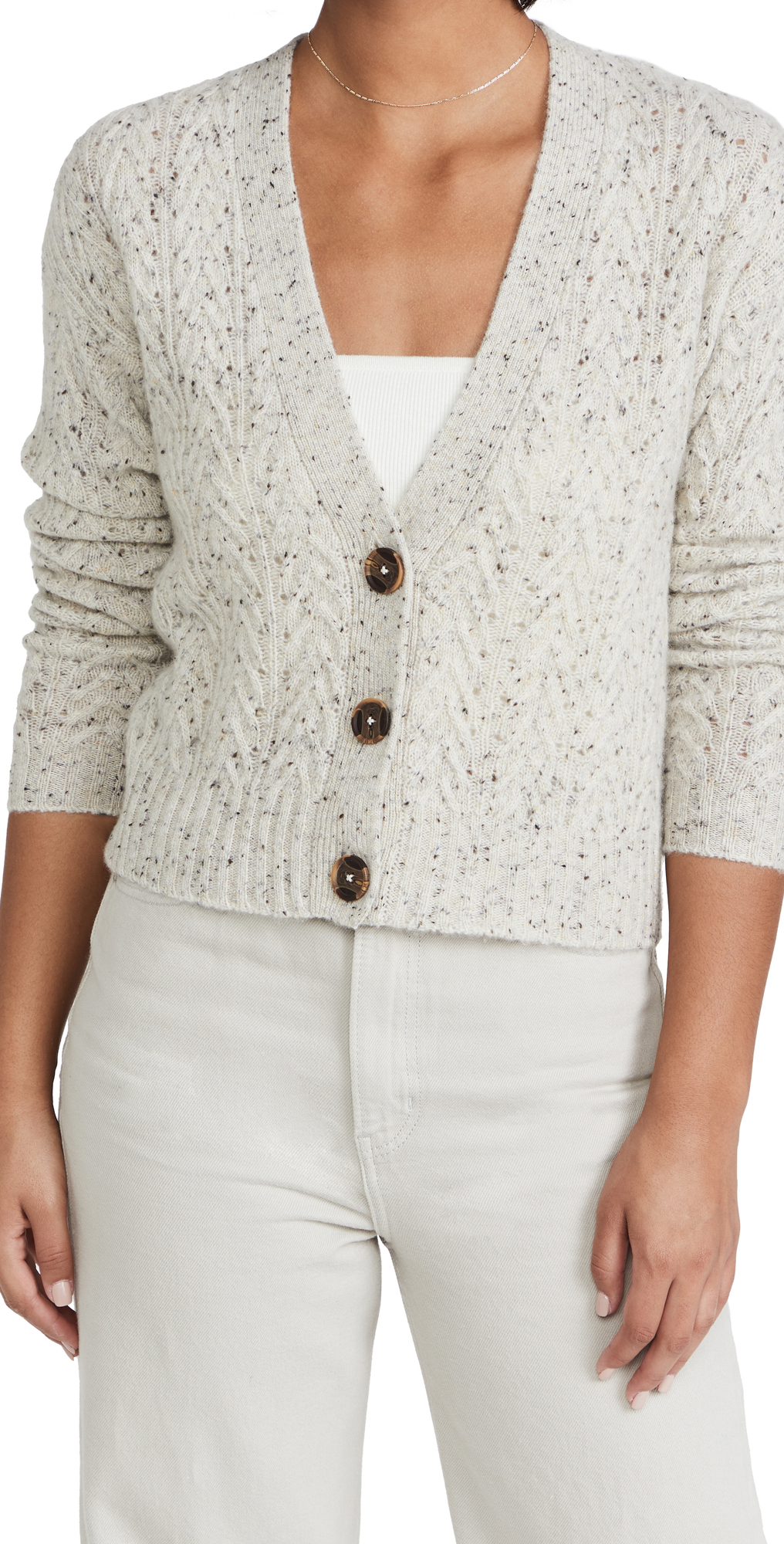 Cropped Cable V Neck Cashmere Cardigan
