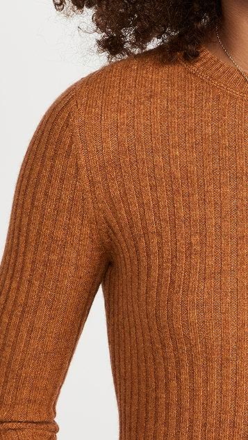 Autumn Cashmere 罗纹圆领开司米羊绒毛衣