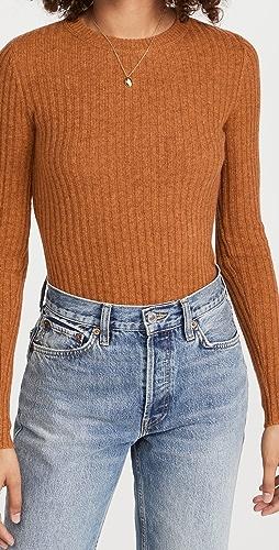 Autumn Cashmere - 罗纹圆领开司米羊绒毛衣