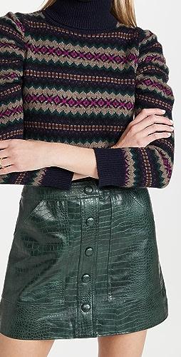 Autumn Cashmere - Jacquard Puff Sleeve Turtleneck
