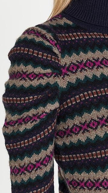 Autumn Cashmere Jacquard Puff Sleeve Turtleneck