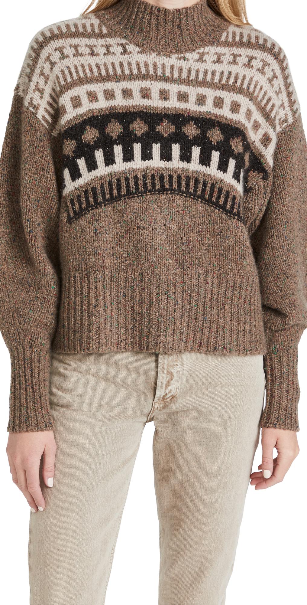 Fair Isle Yoke Mock Cashmere Sweater