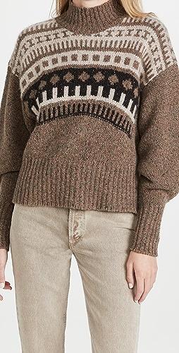 Autumn Cashmere - Fair Isle Yoke Mock Cashmere Sweater