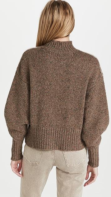 Autumn Cashmere Fair Isle Yoke Mock Cashmere Sweater