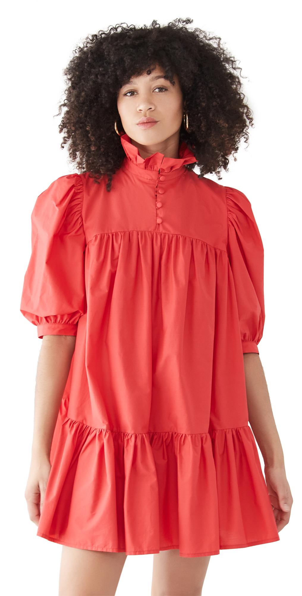 Short Sleeve Mini Ruffle Dress