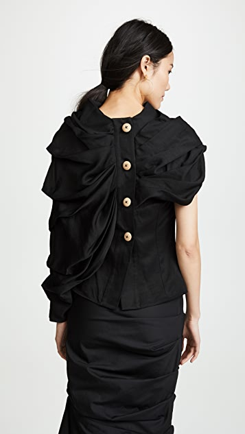 A.W.A.K.E. One Sleeve Draped Blouse
