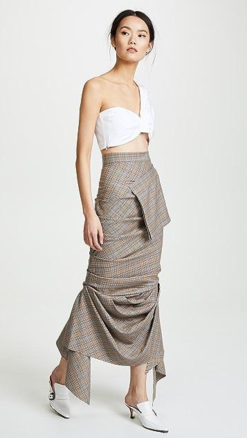 A.W.A.K.E. Plaid Grey Skirt with Pocket