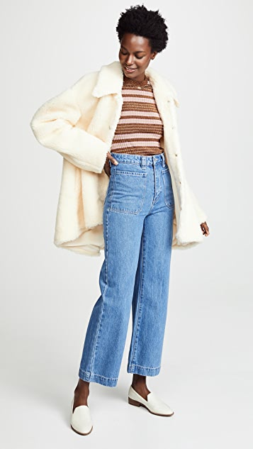 A.W.A.K.E. Faux Shearling Rounded Snap Button Jacket