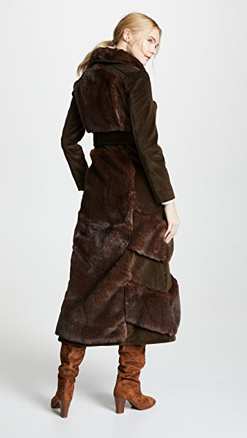 A.W.A.K.E MODE Faux Fur And Corduroy Belted Coat