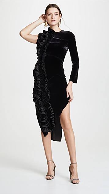 A.W.A.K.E. Asymmetric Ruffle Dress