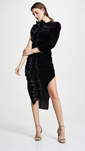 A.W.A.K.E MODE Асимметричное платье с оборкой
