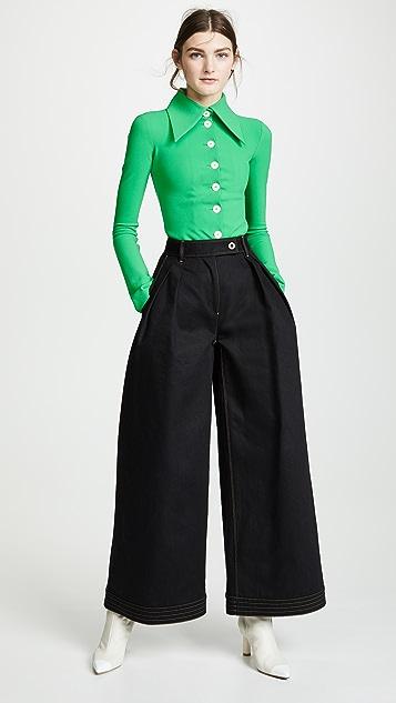 A.W.A.K.E MODE Блуза с воротником на пуговицах