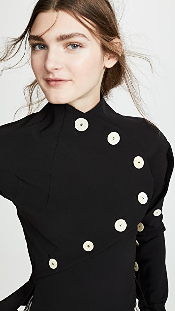 A.W.A.K.E. Asymmetric Button Open Sleeve Blouse