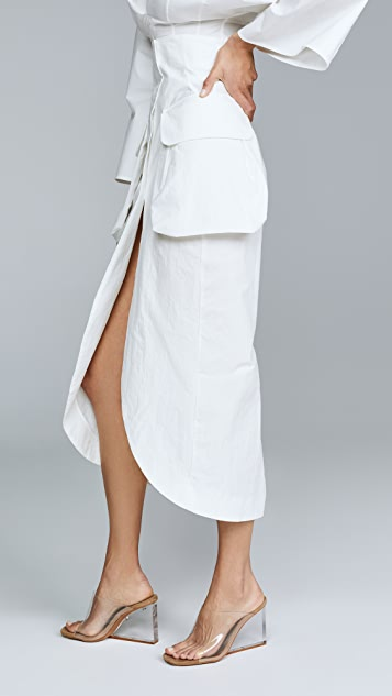 A.W.A.K.E MODE Midi Slit Skirt