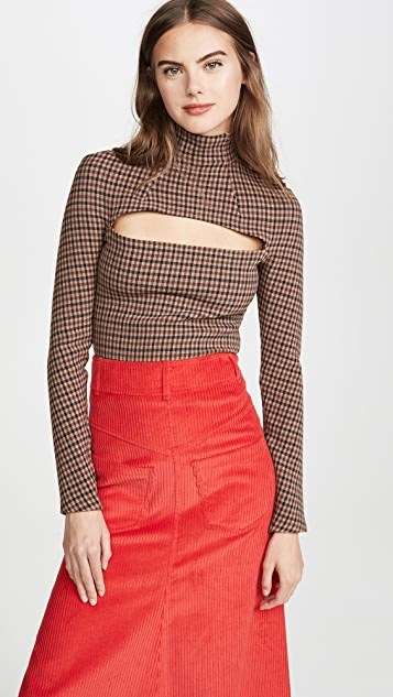 A.W.A.K.E MODE Gingham Mailbox Turtleneck Top