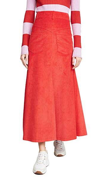 A.W.A.K.E MODE Back to Front Red Corduroy Skirt