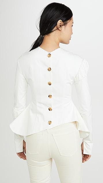 A.W.A.K.E MODE 衣袖褶皱设计腰褶上衣