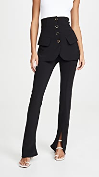 Fitted Pants With Side Slits And Bottom Jacket Detail