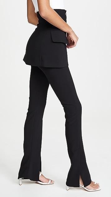A.W.A.K.E MODE 侧开衩和里层夹克装饰合身长裤