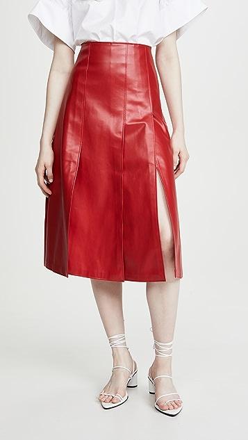 A.W.A.K.E MODE 仿皮多拼接半身裙