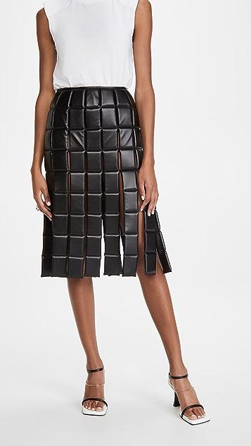 A.W.A.K.E MODE Vegan Leather Tiled Skirt