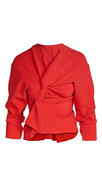A.W.A.K.E MODE 七分袖不对称正面垂褶上衣