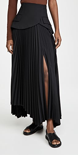 A.W.A.K.E MODE - 裥褶倒 V 腰部半身裙